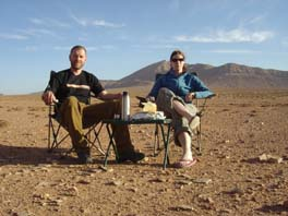 tea and cake in the desert